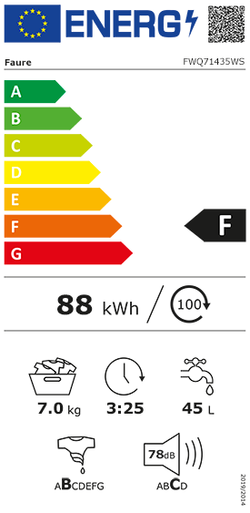 Etiquette Energie Faure FWQ71435WS