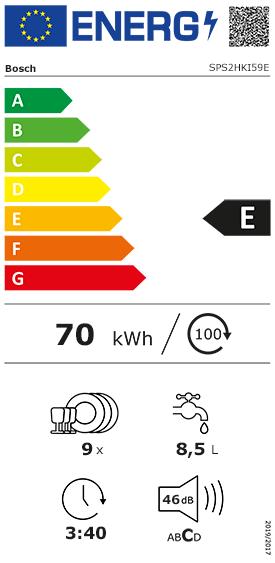 Etiquette Energie Bosch SPS2HKI59E