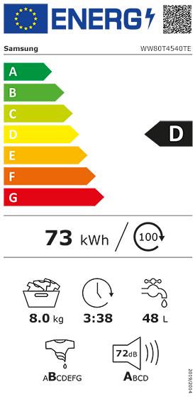Etiquette Energie Samsung WW80T4540TE