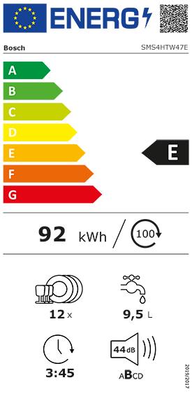 Etiquette Energie Bosch SMS4HTW47E