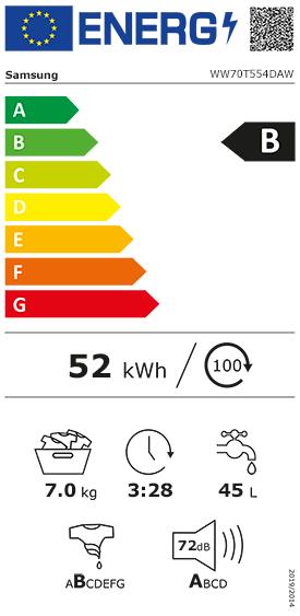 Etiquette Energie Samsung WW70T554DAW