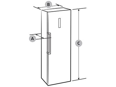 Illustration dimensions refrigerateur 1 porte