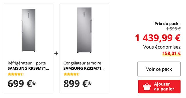 illustration pack refrigerateur 1 porte + congelateur armoire