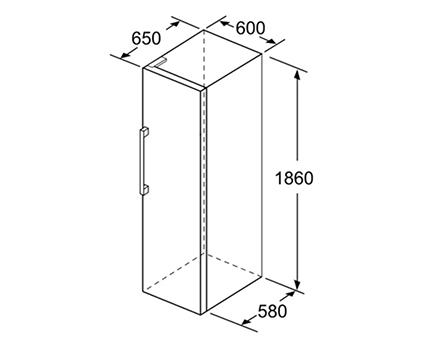 illustration dimensions congelateur no frost