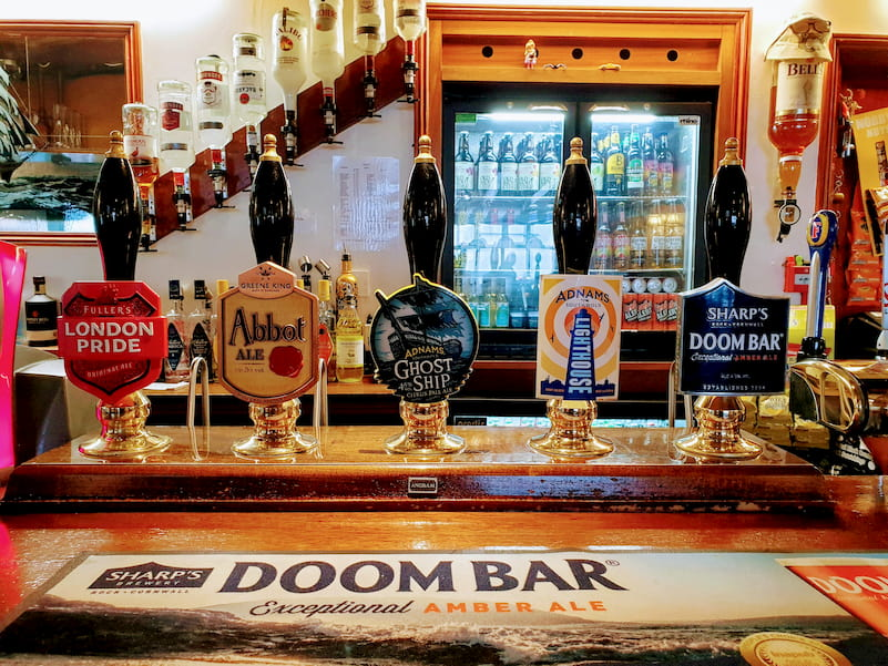 The main bar of The Crown Inn, Sheringham showing a fine display of draught beers.