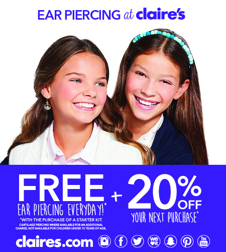 Free Ear Piercing & 20% Off at Claire's