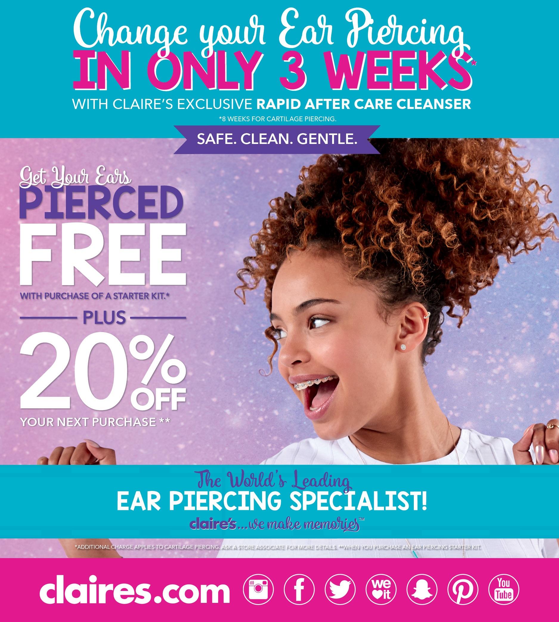 20% Off Ear piercing