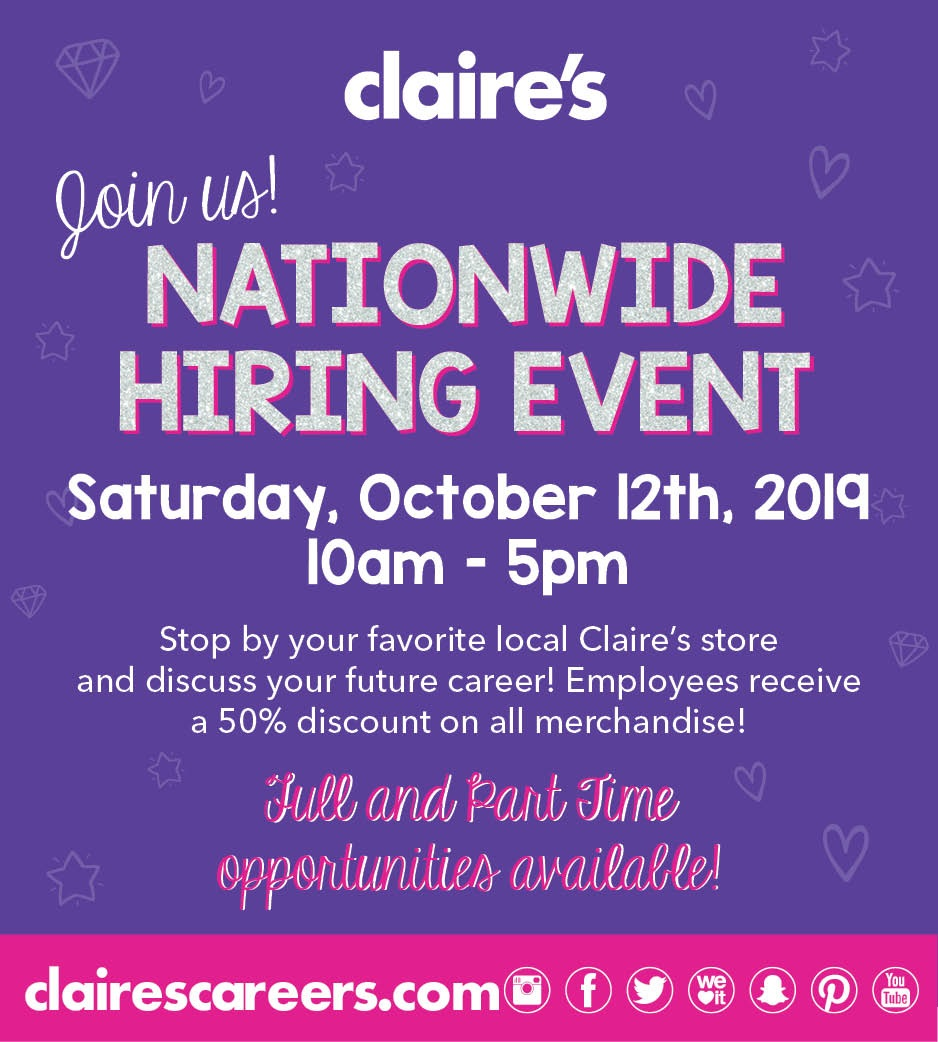 claires national hiring event