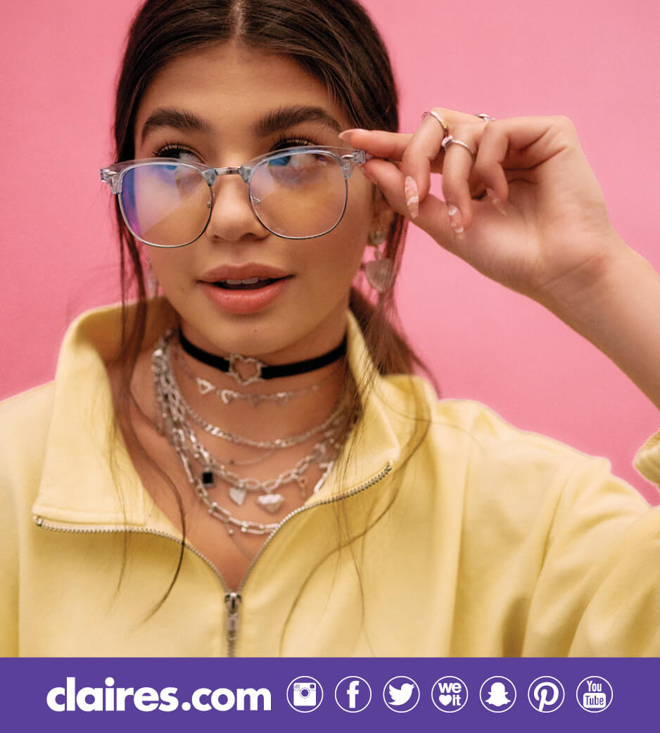 Young woman wearing Claire's accessories