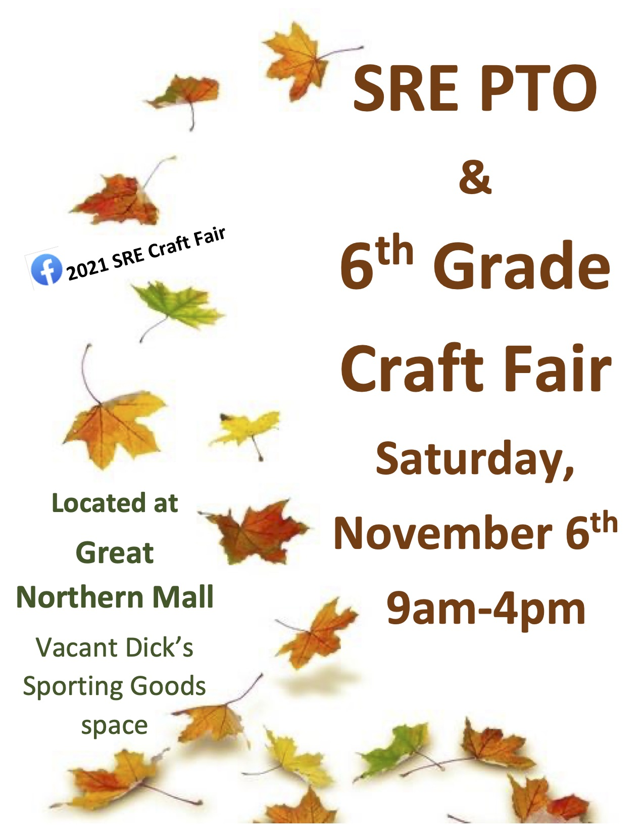 Soule Road Elementary Arts and Craft Show for 6th grade Great Northern Mall information and falling leaves.