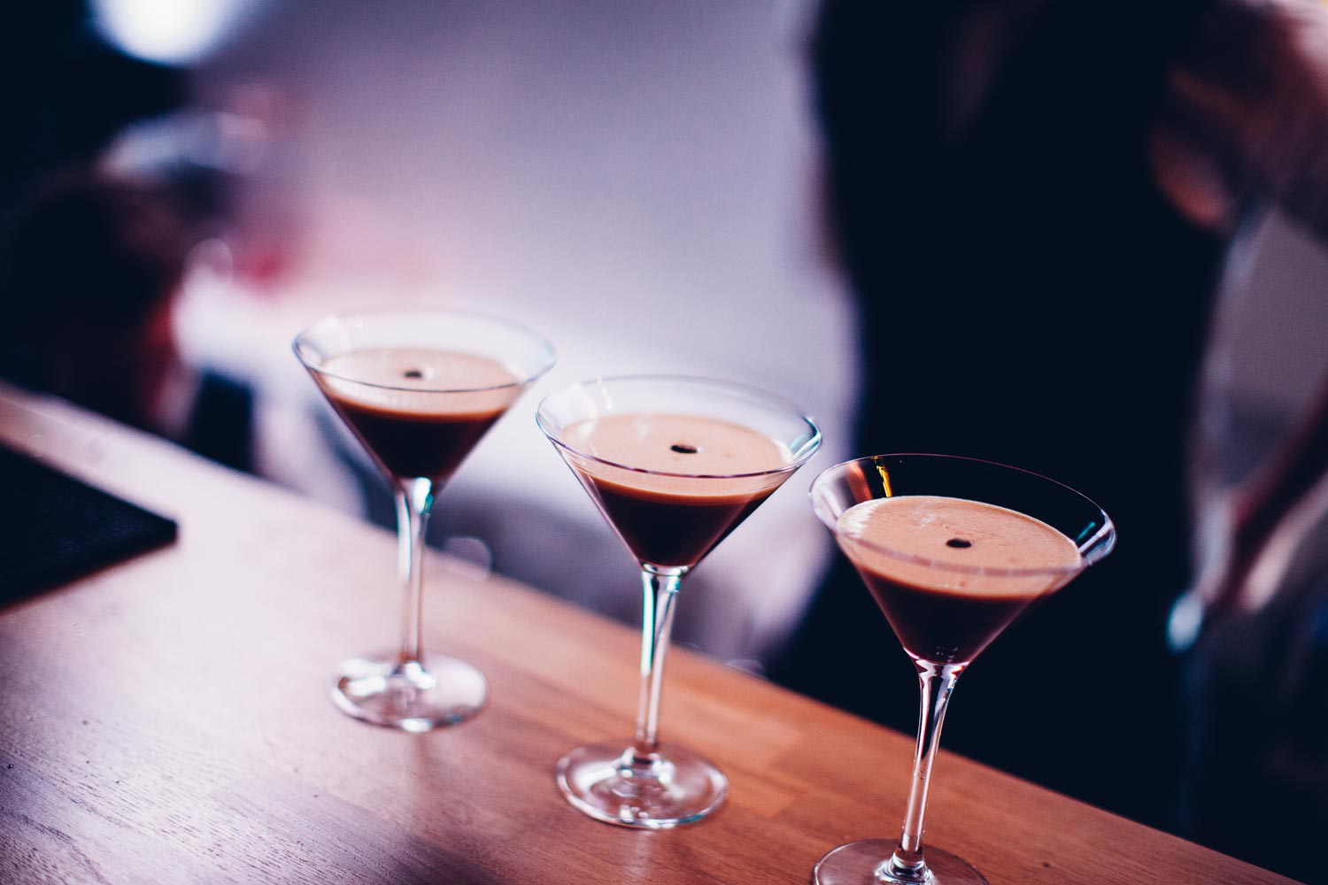 espresso martinis in a row