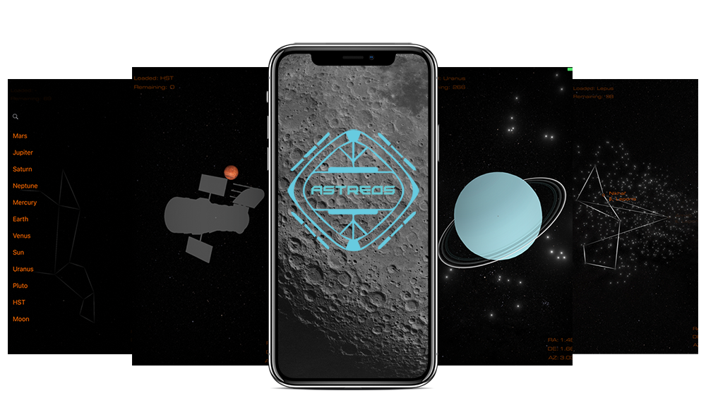 Multiple Screenshots of astreos with the logo of astreos out the front