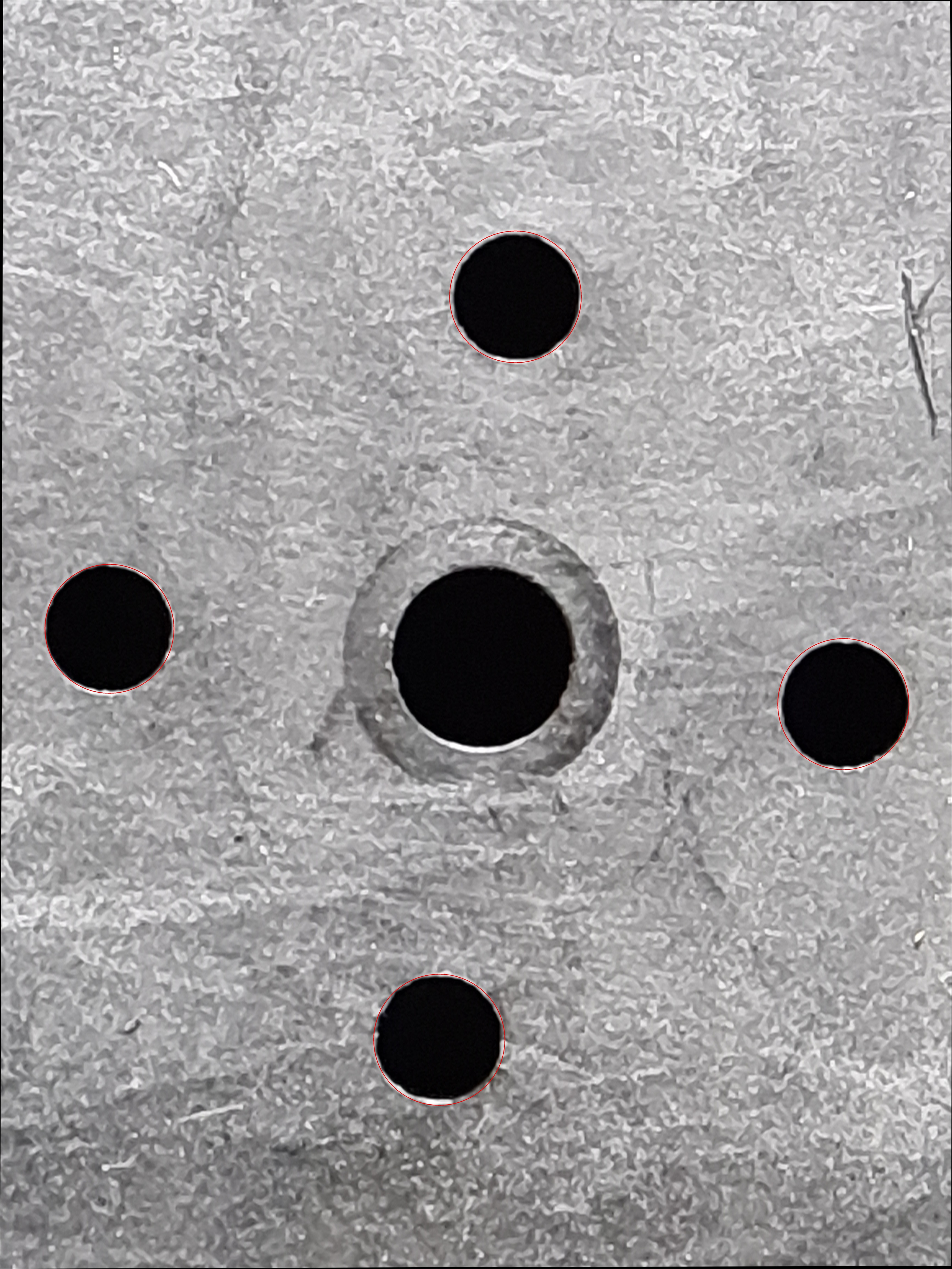 Calculated image holes of the previous image, there are red rings around the alignment holes