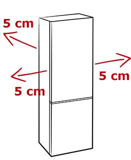 illustration espacement 5cm frigo