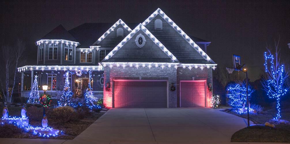 Christmas light installation in Newton, MA