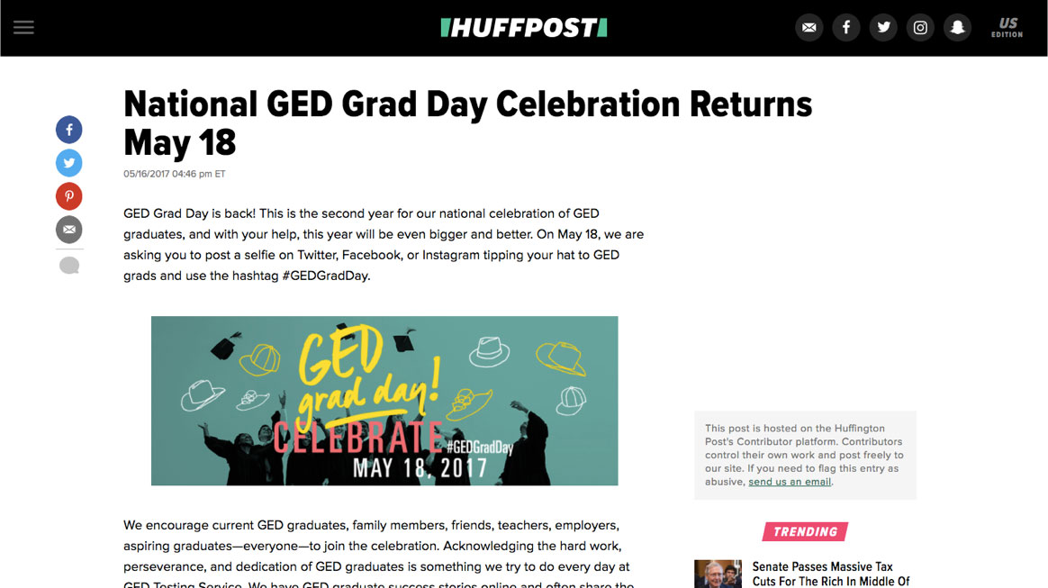 screenshot of Huffington Post article about GED grad day