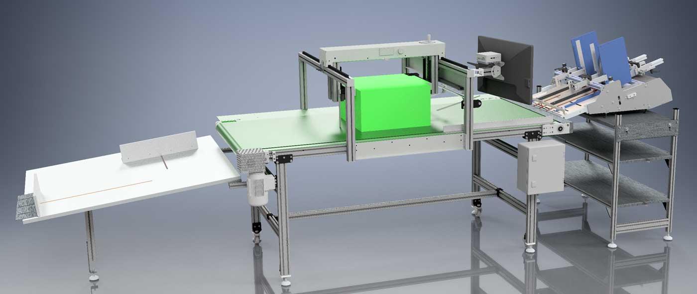 Rendering della Greenbox2 con Alimentatore automatico opzionale (a destra) e Scivolo di raccolta (a sinistra)