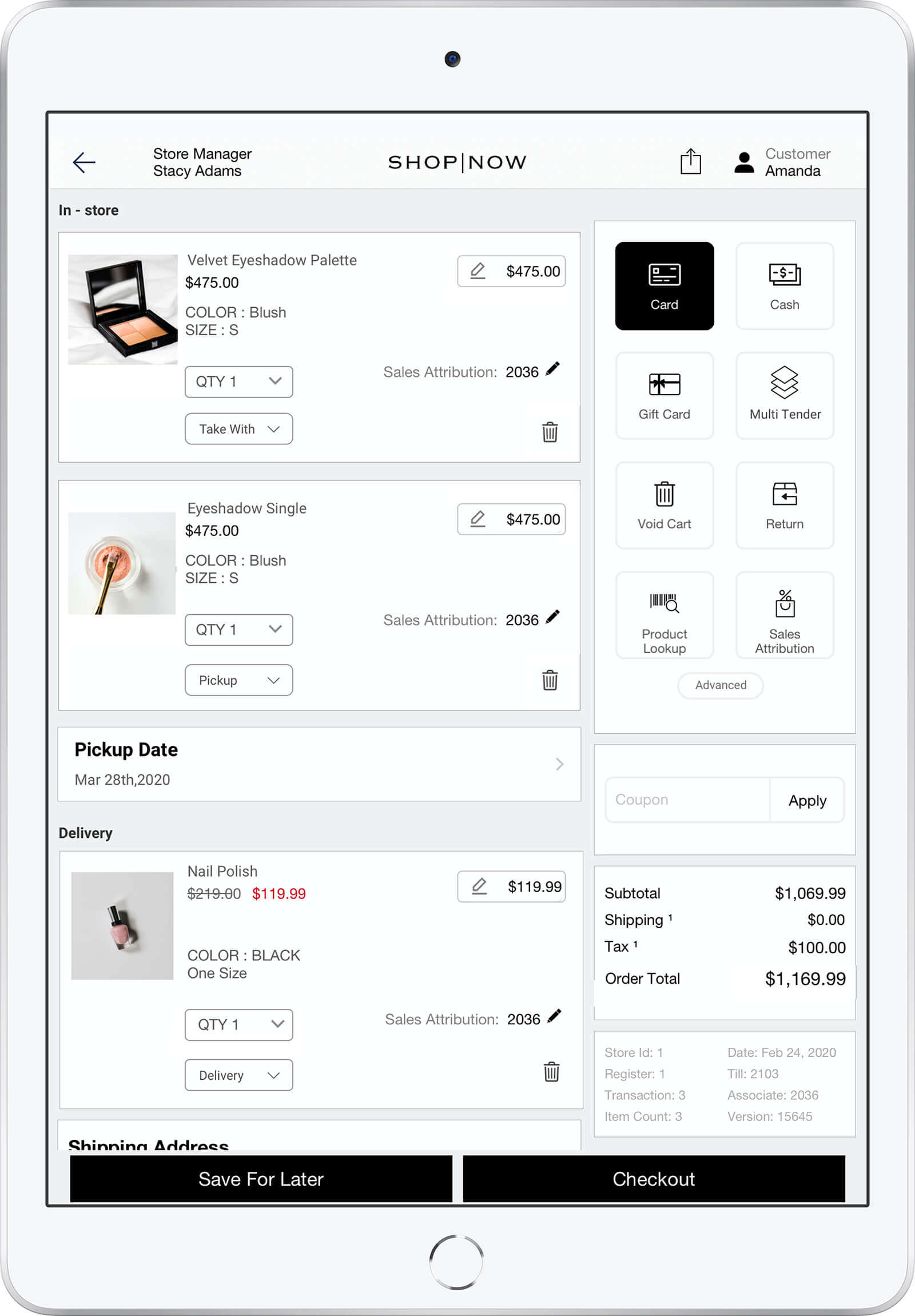 Point of sale software for health and beauty
