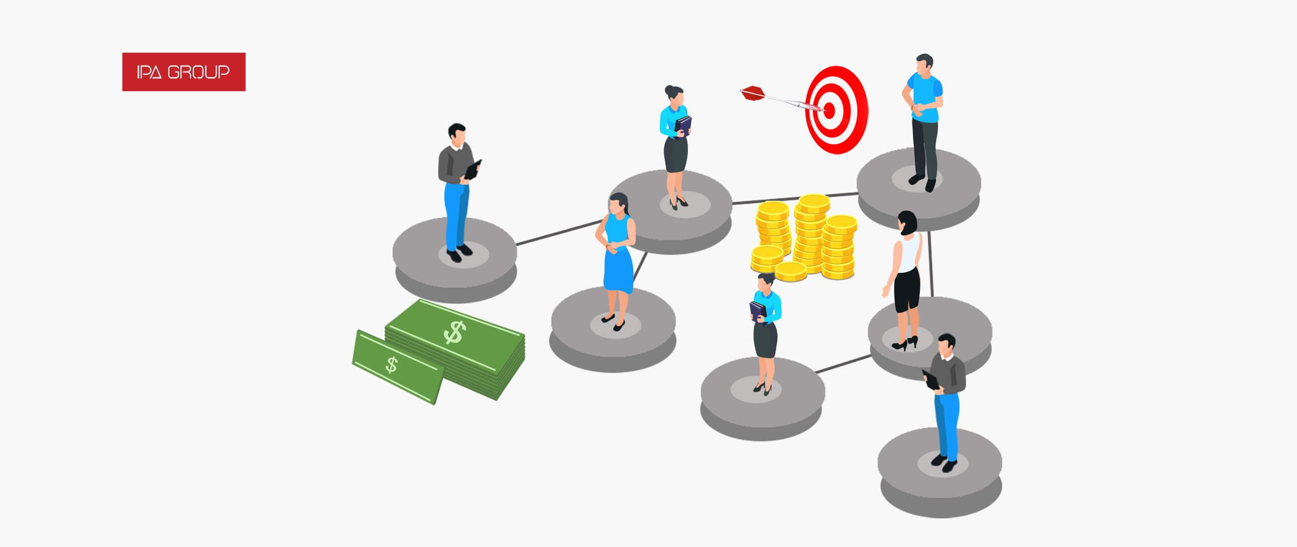 Personas creando alianzas estratégicas con diferentes servicios profesionales