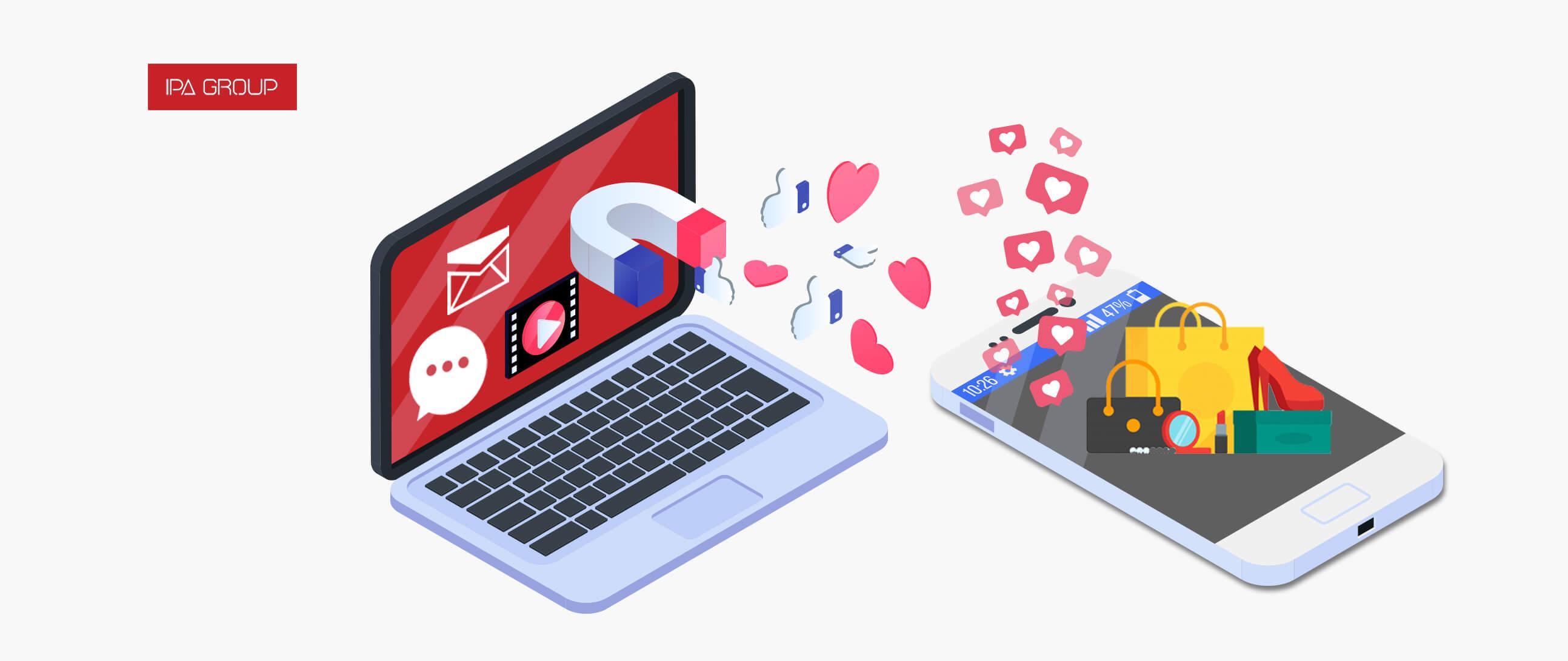 Computadora atrayendo consumidores, likes y compras