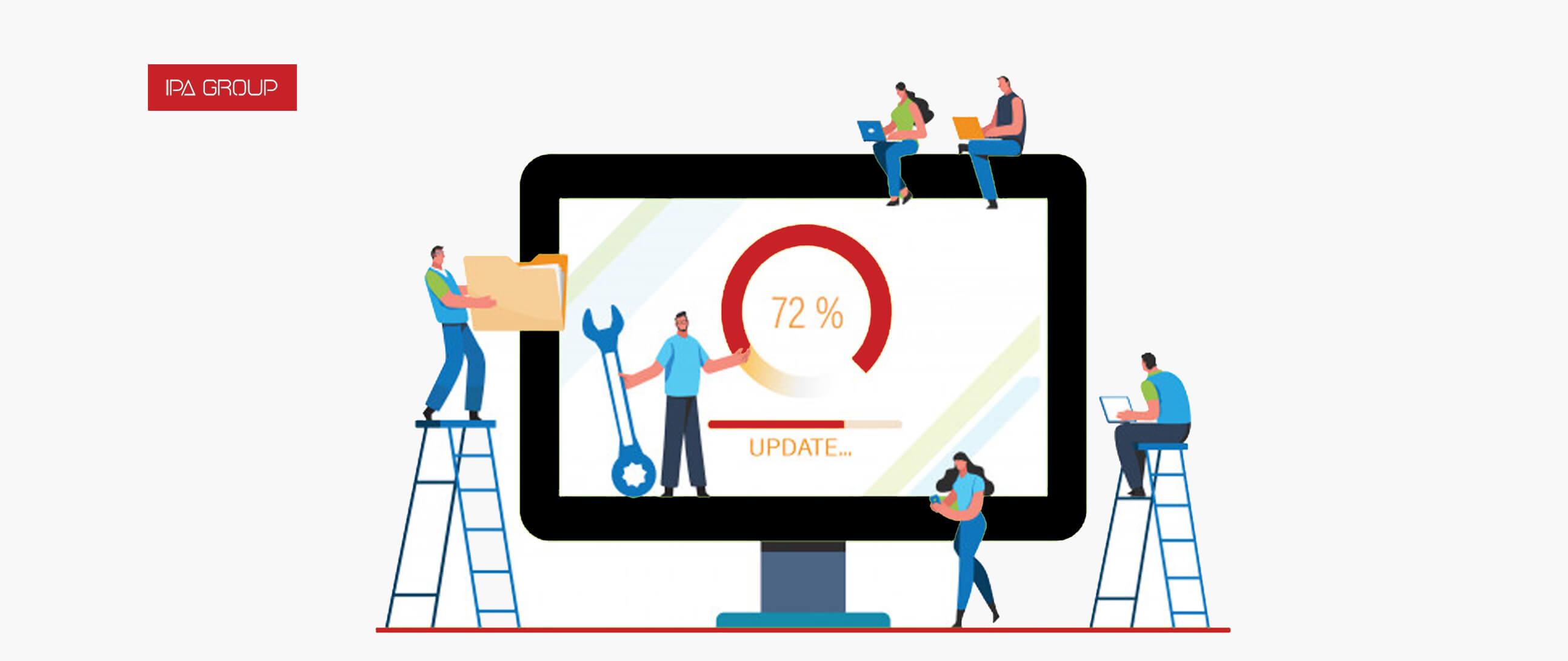 Gente actualizando una empresa a la era digital