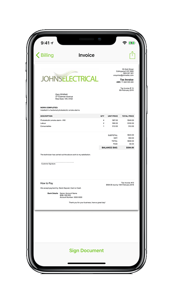 Electrician Invoice