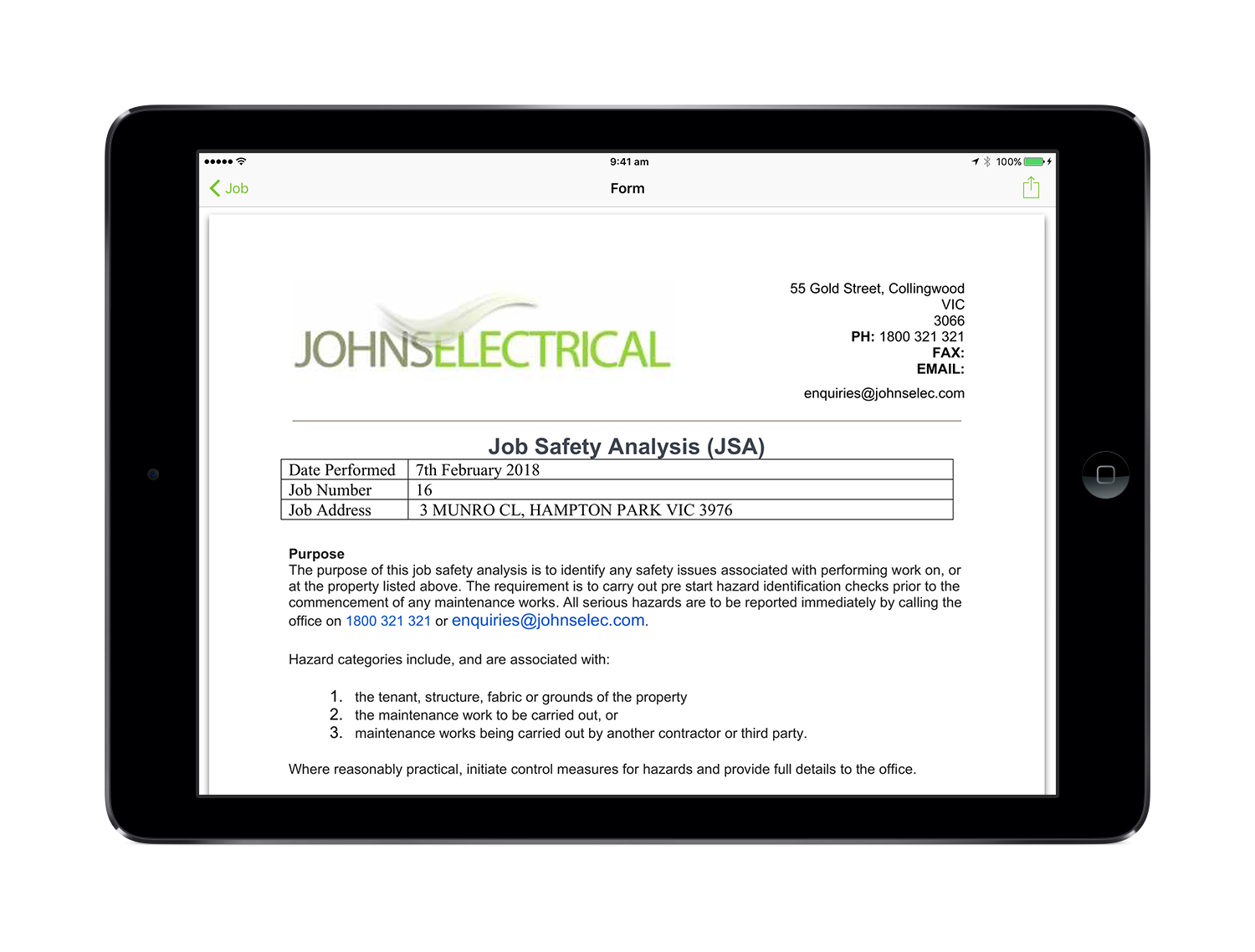 Electrical Job Safety Analysis form