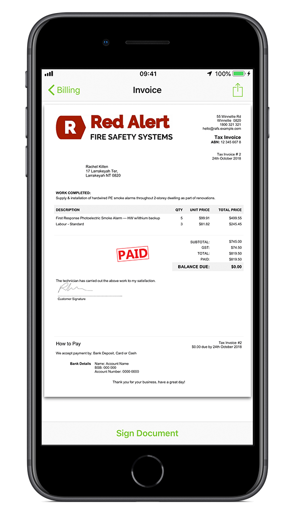 Fire Safety Invoice
