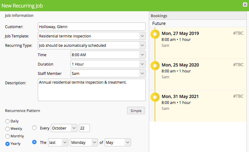 Automatic recurring pest control schedule