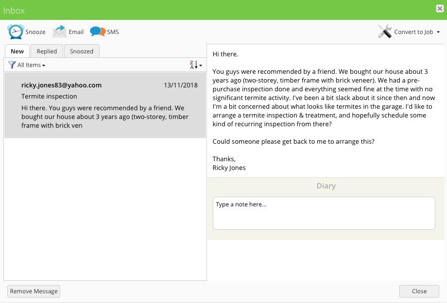 Pest Control Inbox Message