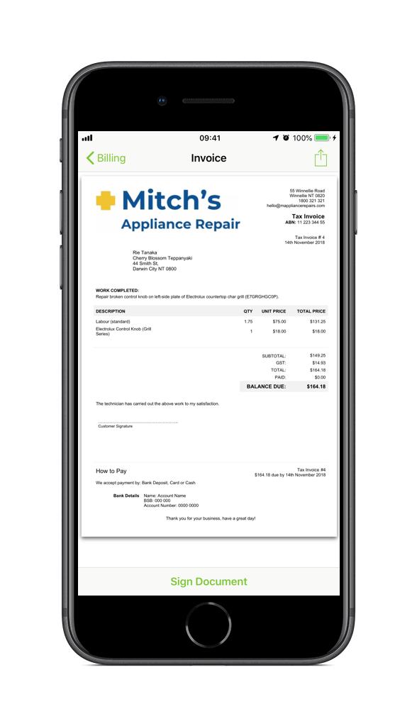 Appliance Repair Invoice