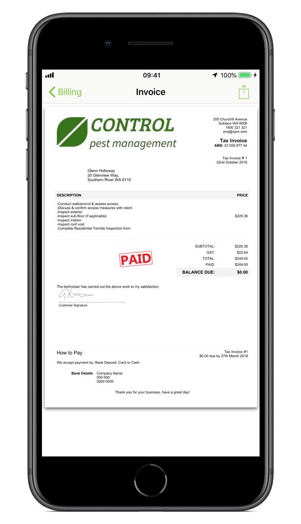 Pest Control Invoice