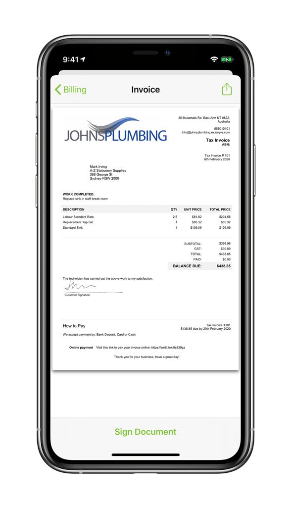 Plumbing Invoice