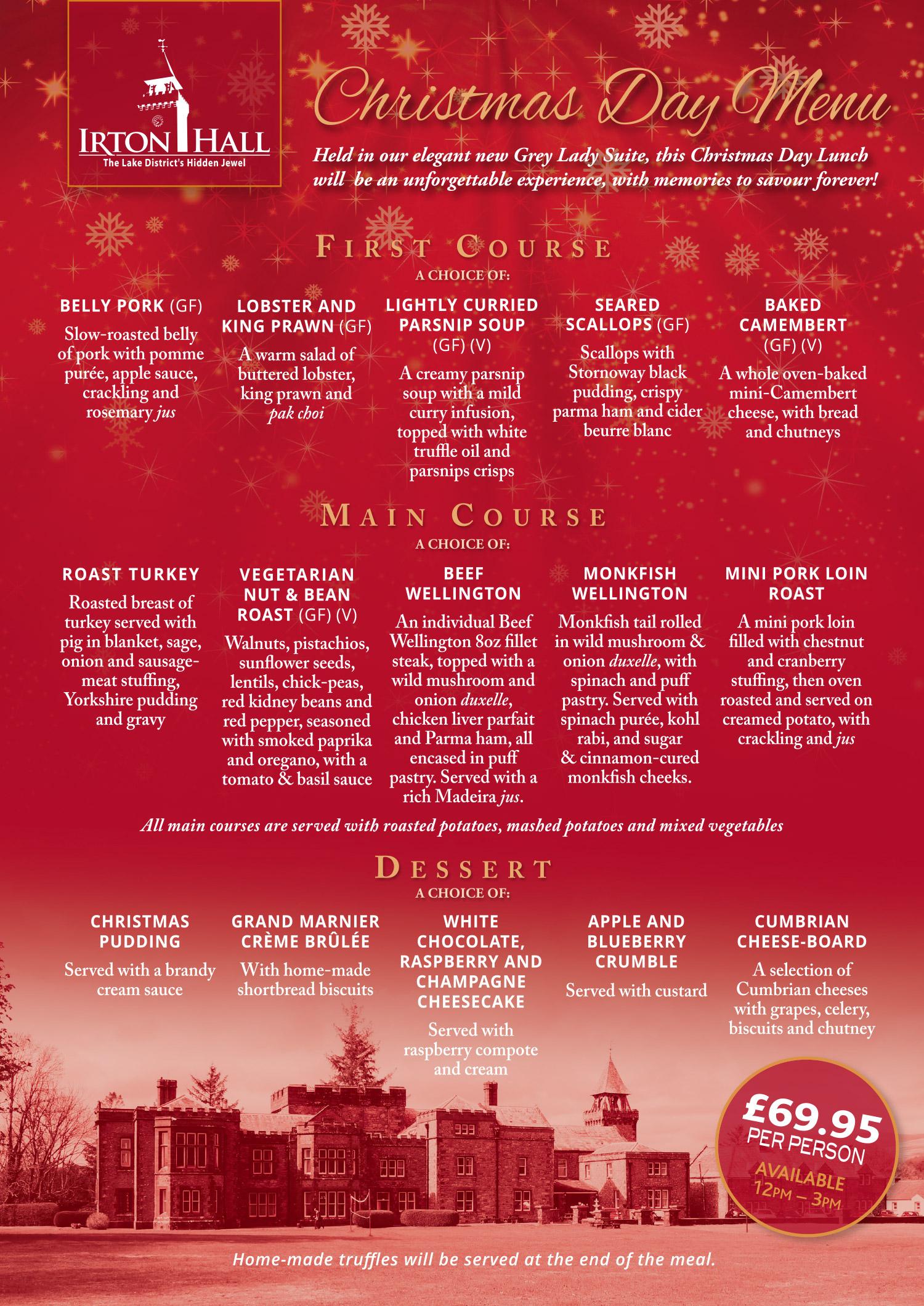 Irton Hall Christmas Day Menu 2019