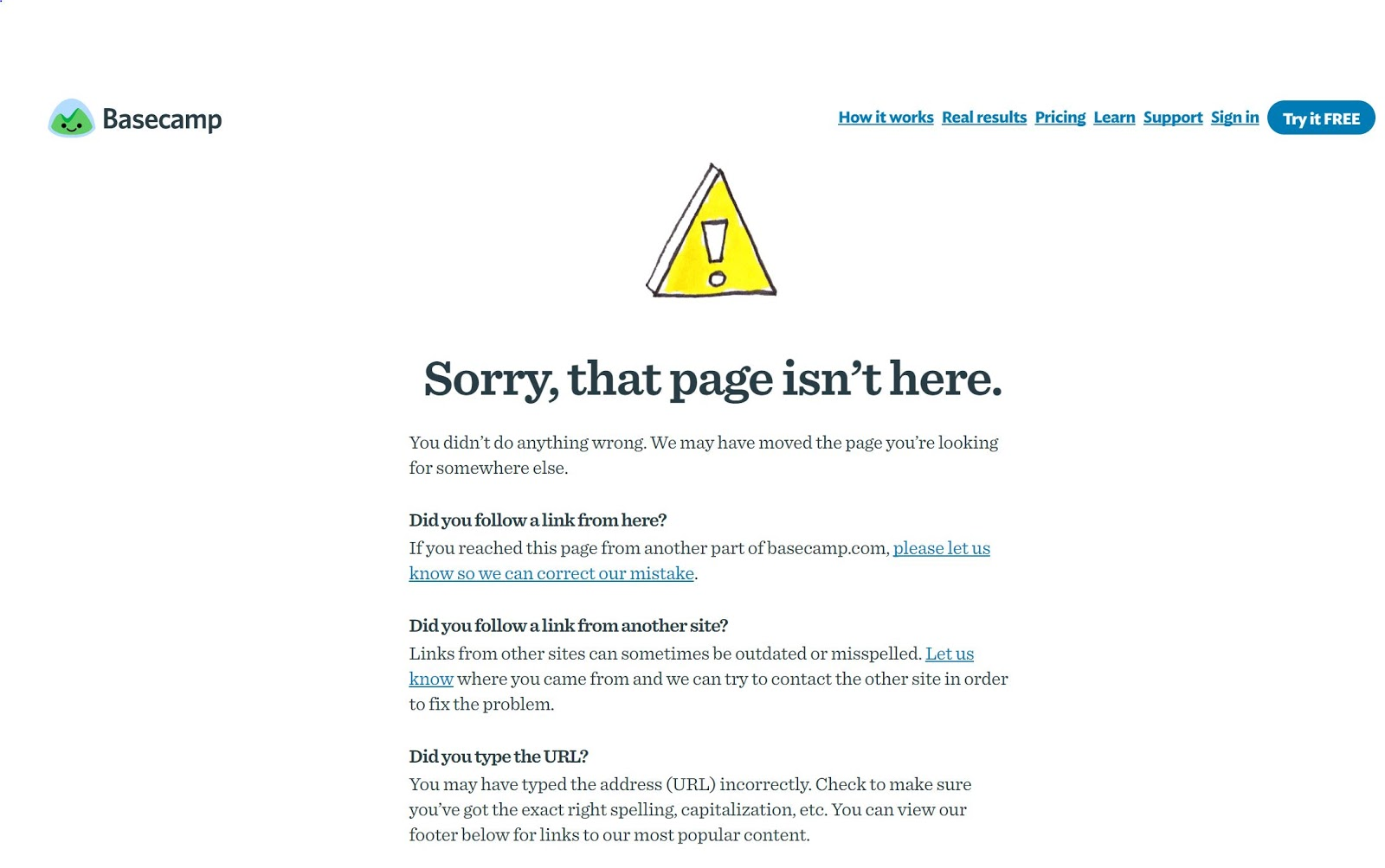 Basecamp 404 page