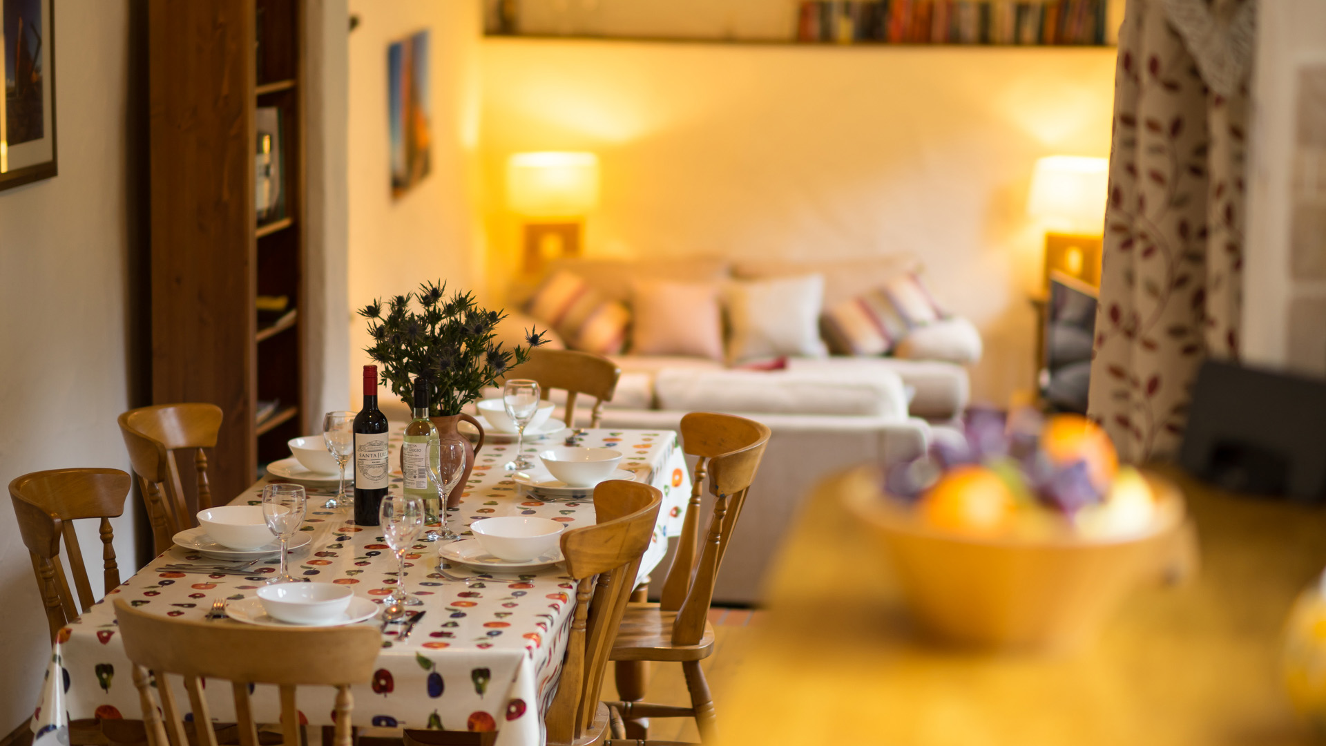The Byre dining table and living area