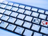 thumbs up thumbs down on computer keyboard keys