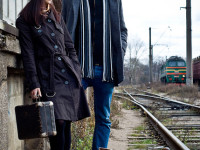 couple waiting for the train
