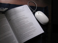 a computer mouse and a book