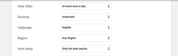 setting up google alerts