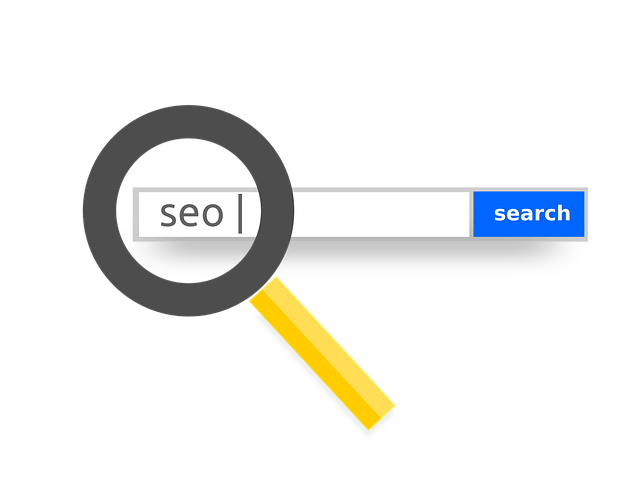 magnifying glass on seo search box