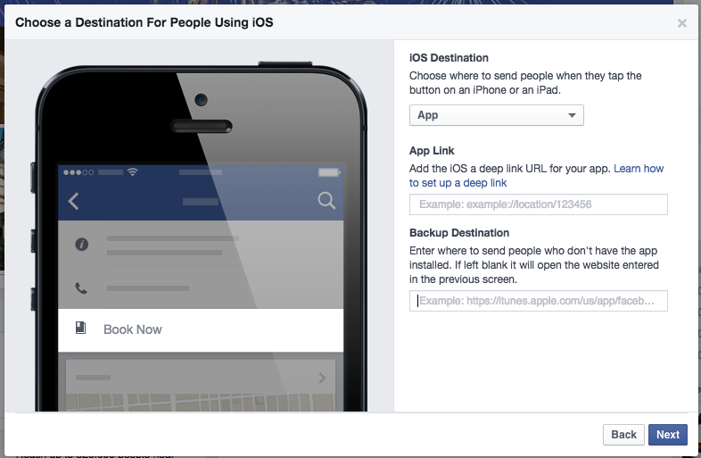 setting device attributes for book now call to action button on facebook