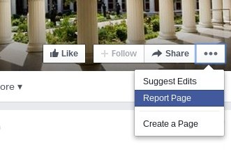 reporting a facebook page