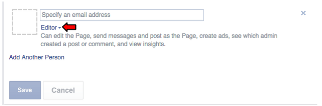 clicking editor on facebook business page