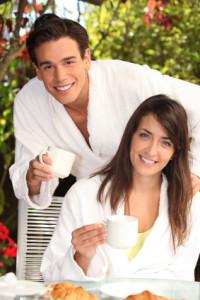 couple enjoying hotel amenities