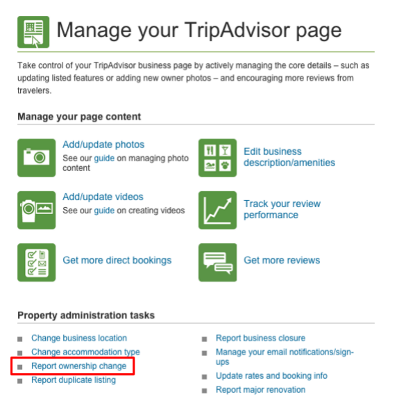 report ownership change tripadvisor business account