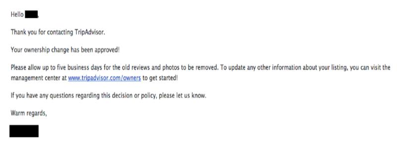 tripadvisor business account confirmation email