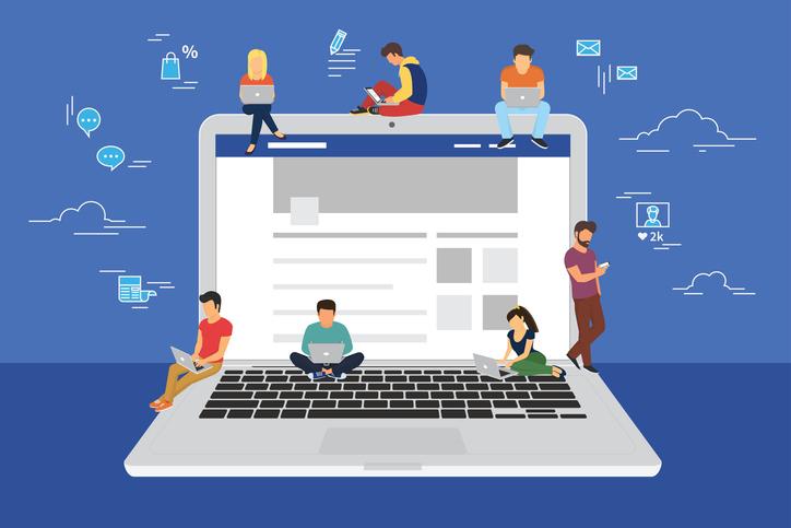 social media web surfing laptop