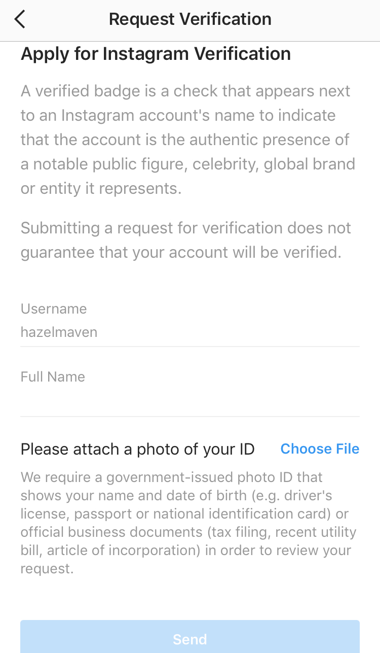 Applying for Instagram verification