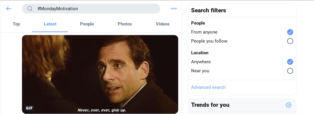 using search filters on the new Twitter